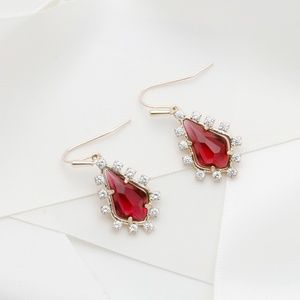 Kendra Scott Juniper Berry red Gold earrings New